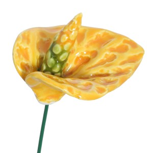 Ceramic flower - yellow anthurium