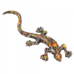 Enamelled ceramic lizard - Ethnic red