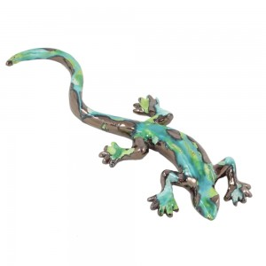 Enamelled ceramic lizard - Ethnic green