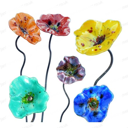 Glass decorative poppies x3