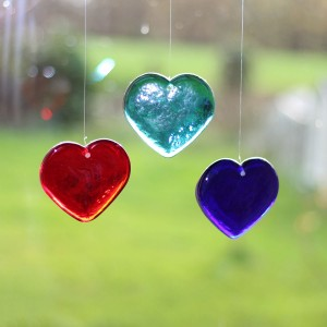 Handmade glass hearts