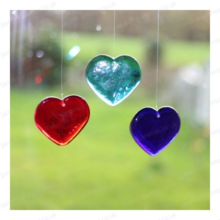 Glass heart garden mobiles