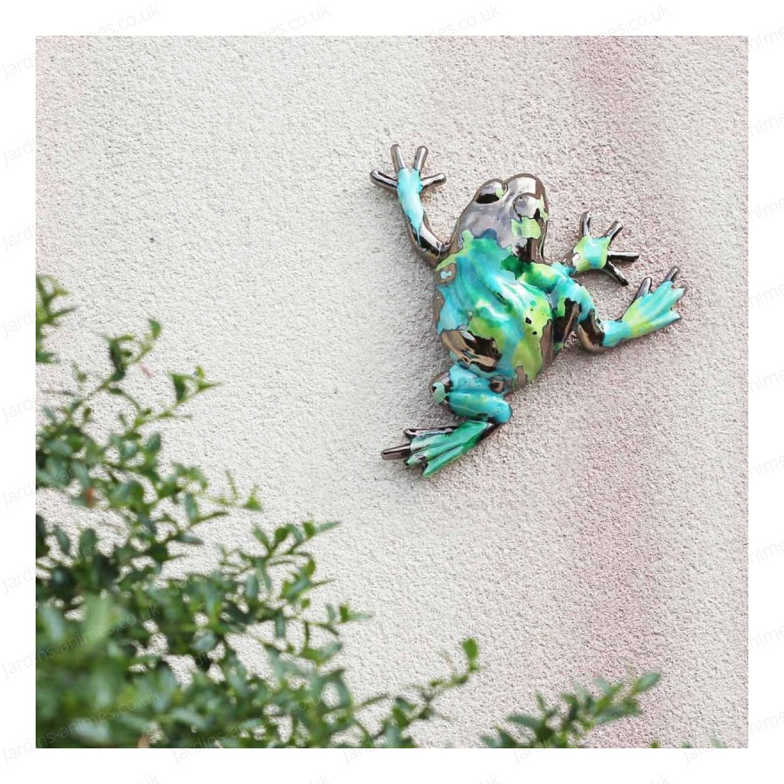 Enamelled ceramic frog - Ethnic green