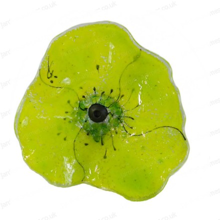 Glass decorative poppy - Green