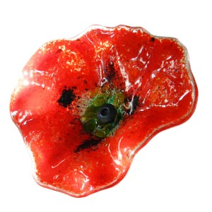 Glass decorative poppy - Red
