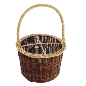 Round wicker wine bottle holder